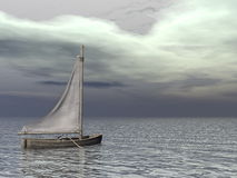 Small sailing boat on the ocean - 3D render Royalty Free Stock Photography