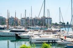 Small sailing boats and yachts docked at port of Piraeus, Greece stock photos