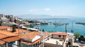 Small sailing boats and yachts docked at port of Piraeus, Greece stock image