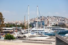 Small sailing boats and yachts docked at port of Piraeus, Greece stock photo