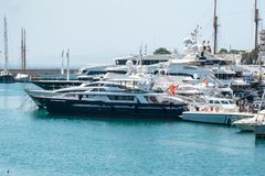 Small sailing boats and yachts docked at port of Piraeus, Greece.  stock photo