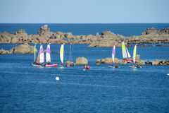 Small sailing boatss in the sea Stock Image