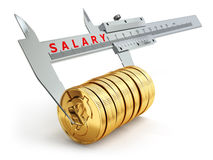 Small salary concept. Caliper measuring coins with dollar sign. Royalty Free Stock Images
