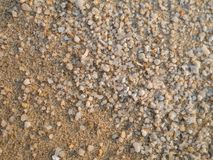 Small sand and gravel surfaces On the beach stock image