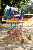 Small sand pagoda in Songkran festival, Thailand. Small sand pagoda and flag in Songkran festival, Thailand Stock Photography