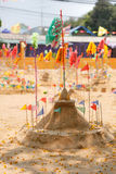 Small sand pagoda in Songkran festival, Thailand. Small sand pagoda and flag in Songkran festival, Thailand Royalty Free Stock Image