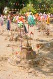 Small sand pagoda in Songkran festival, Thailand. Small sand pagoda and flag in Songkran festival, Thailand stock photos