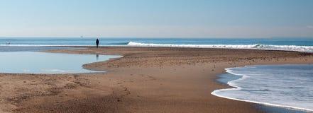 Person on small sandbar where the Pacific ocean and the Santa Clara river meet at Surfers Knoll beach in Ventura California USA. Person on small sandbar where royalty free stock photo