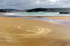 Small sandstorm on beach. With  spiral shape Royalty Free Stock Photography
