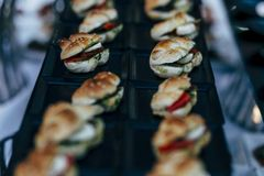 Small sandwich with beef meat royalty free stock images
