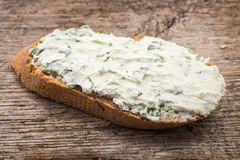 Small sandwich with creamy cheese on sliced bread Stock Photos