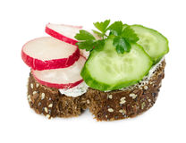 Small sandwich with cucumber, radish and parsley. Isolated on white background Royalty Free Stock Photography