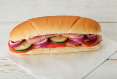 Small sandwich with deli meats and vegetables Royalty Free Stock Image