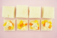 Small sandwich mango apple carrot cucumber bread sliced Stock Images