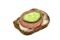Small sandwich with meat and cucumber Stock Photography