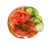 Small sandwich with salmon and cucumber Royalty Free Stock Photography