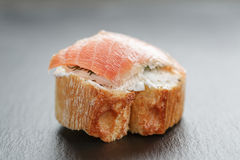 Small sandwich with soft cheese and salmon Royalty Free Stock Image