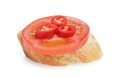 Small sandwich with tomato and chili Royalty Free Stock Photography