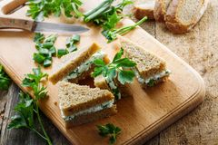 Soft cheese sandwiches Stock Images