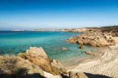 Small sandy beach and turquoise Mediterranean near Lumio in Cors Royalty Free Stock Photo