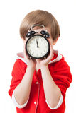 The small santa claus shades by clock Stock Photography