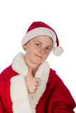 Small Santa Claus with thumb up. On white background Stock Images
