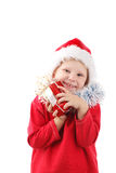 Small Santa with present Royalty Free Stock Images
