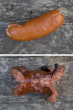 Small sausage, banger. Small sausage roasted over an open fire Stock Photo