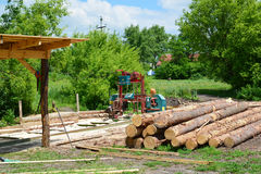 Small sawmill in open air, Russia. Small sawmill in the open air, Russia Stock Image