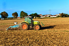 Small scale farming with tractor Royalty Free Stock Photos