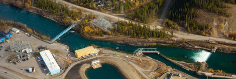 Small scale hydro power plant Stock Photos