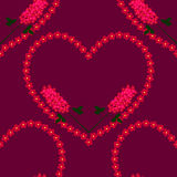 Small-scale red flowers heart background with branches, seamless Royalty Free Stock Photos