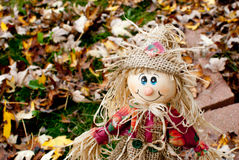 Small Scarecrow. Fallen leaves on the grass Royalty Free Stock Image