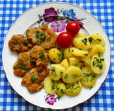 Small schnitzels with potatoes, tomatoes and pieces of lovage levisticum Royalty Free Stock Images