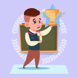 Small School Boy Hold Winner Cup Standing Over Class Board Win Schoolboy Education Banner Royalty Free Stock Photography