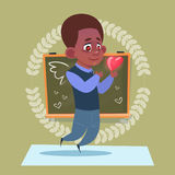 Small School Boy In Love Hold Heart Shape Standing Over Class Board Schoolboy Education Banner. Flat Vector Illustration Stock Images