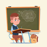 Small School Boy Sit At Desk Over Class Board Schoolboy Education Banner Stock Photo