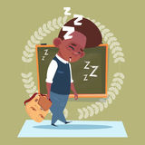 Small School Boy Sleep Tired Standing Over Class Board Schoolboy Education Banner Royalty Free Stock Photography