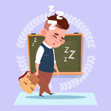 Small School Boy Sleep Tired Standing Over Class Board Schoolboy Education Banner Royalty Free Stock Photo