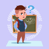 Small School Boy Standing Over Class Board With Question Sign Schoolboy Education Banner Royalty Free Stock Photography