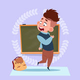 Small School Boy Standing Over Class Board Schoolboy Education Banner Royalty Free Stock Photo