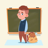 Small School Boy Standing Over Class Board Schoolboy Education Banner Royalty Free Stock Photography