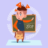 Small School Boy Standing Over Class Board With Stop Sign Schoolboy Education Banner Stock Images