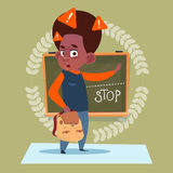 Small School Boy Standing Over Class Board With Stop Sign Schoolboy Education Banner Stock Image