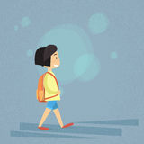 Small School Girl Walk, Carry Bag Backpack Royalty Free Stock Image