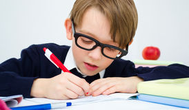 Schoolboy writing homework in workbook. Small schoolboy writing homework from school in workbook Stock Photography