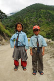 Small schoolchilds in India Royalty Free Stock Image