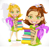 Small schoolgirl with a stack of books Stock Photography
