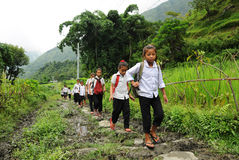 Small schoolgirls in India Royalty Free Stock Photography