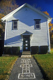 Small schoolhouse. With hopscotch pattern on sidewalk, Monterey, MA Stock Photos